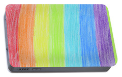Rainbow Crayon Drawing Portable Battery Charger by GoodMood Art