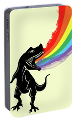Rainbow Dinosaur Portable Battery Charger by Mark Ashkenazi