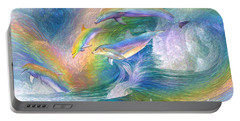Rainbow Dolphins Portable Battery Charger by Carol Cavalaris