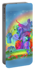 Portable Battery Charger featuring the mixed media Rainbow Dachshunds 1 by Carol Cavalaris