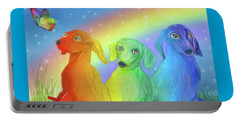 Portable Battery Charger featuring the mixed media Rainbow Doxies 2 by Carol Cavalaris