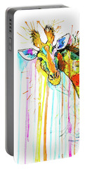 Portable Battery Charger featuring the painting Rainbow Giraffe by Zaira Dzhaubaeva