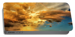 Rainbow In Sunset Clouds Portable Battery Charger