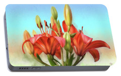 Portable Battery Charger featuring the photograph Rainbow Lilies by Lois Bryan