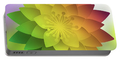 Portable Battery Charger featuring the digital art Rainbow Lotus by Mo T