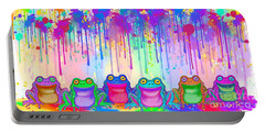 Portable Battery Charger featuring the painting Rainbow Of Painted Frogs by Nick Gustafson