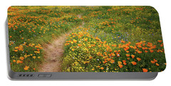 Rainbow Of Wildflowers Bloom Near Diamond Lake In California Portable Battery Charger