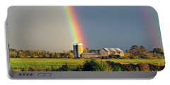 Rainbow Over Barn Silo Portable Battery Charger