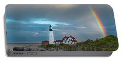 Rainbow Over Portland Head Light Portable Battery Charger
