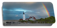 Rainbow Over Portland Head Light Portable Battery Charger