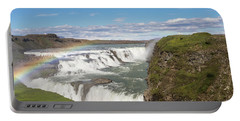 Rainbow Over The Gullfoss Waterfall In Iceland Portable Battery Charger