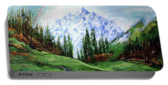 Rainbow Over The Snow Covered Mountain Portable Battery Charger