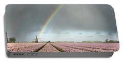 Rainbow Over Windmill And Flower Fields Portable Battery Charger