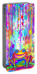 Portable Battery Charger featuring the painting Rainbow Painted Frog  by Nick Gustafson