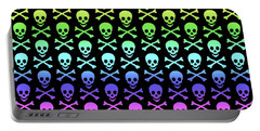 Rainbow Skull And Crossbones Portable Battery Charger by Roseanne Jones