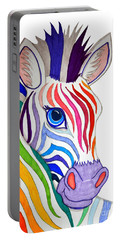 Rainbow Striped Zebra Portable Battery Charger