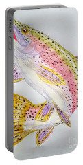Rainbow Trout Presented In Colored Pencil Portable Battery Charger by Scott D Van Osdol