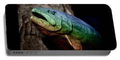 Portable Battery Charger featuring the photograph Rainbow Trout Wood Sculpture Square by John Stephens