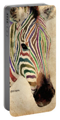 Portable Battery Charger featuring the painting Rainbow Zebra by Greg Collins
