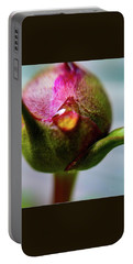 Raindrop On Peonie Portable Battery Charger by Bruce Carpenter