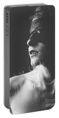Raindrops - Blindfolded Beautiful Woman Behind A Window Portable Battery Charger