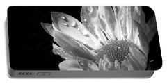 Raindrops On Daisy Black And White Portable Battery Charger by Jennie Marie Schell