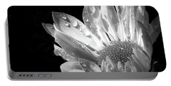 Raindrops On Daisy Black And White Portable Battery Charger