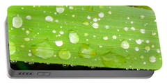 Raindrops On Leaf Portable Battery Charger