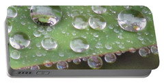 Raindrops On Leaf. Portable Battery Charger by Kim Tran