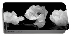 Raindrops On Peonies Black And White Panoramic Portable Battery Charger by Gill Billington