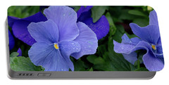Raindrops On Purple Pansy Portable Battery Charger