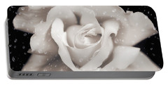 Portable Battery Charger featuring the photograph Raindrops On Sepia Rose Flower by Jennie Marie Schell