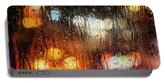 Raindrops On Street Window Portable Battery Charger