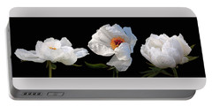 Raindrops On White Peonies Panoramic Portable Battery Charger by Gill Billington