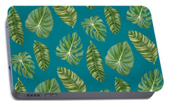 Rainforest Resort - Tropical Leaves Elephant's Ear Philodendron Banana Leaf Portable Battery Charger by Audrey Jeanne Roberts