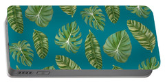 Rainforest Resort - Tropical Leaves Elephant's Ear Philodendron Banana Leaf Portable Battery Charger