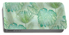 Rainforest Tropical - Elephant Ear And Fan Palm Leaves Repeat Pattern Portable Battery Charger