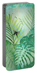 Rainforest Tropical - Philodendron Elephant Ear And Palm Leaves W Botanical Butterfly Portable Battery Charger