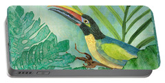 Rainforest Tropical - Jungle Toucan W Philodendron Elephant Ear And Palm Leaves 2 Portable Battery Charger