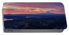 Rainier And Seattle Sunrise Cloudscape Portable Battery Charger by Mike Reid