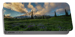 Rainier Wildflowers Meadows Golden Sunset Clouds Portable Battery Charger by Mike Reid
