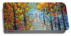 Portable Battery Charger featuring the painting Rainy Autumn Evening In The Park Acrylic Palette Knife Painting by Georgeta Blanaru