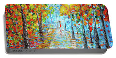 Portable Battery Charger featuring the painting Rainy Autumn Evening In The Park Acylic Palette Knife Painting by Georgeta Blanaru