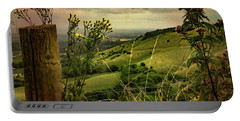 Portable Battery Charger featuring the photograph Rainy Day Hilltop View On The South Downs by Chris Lord