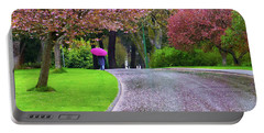 Rainy Day In The Park Portable Battery Charger by Keith Boone