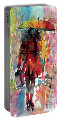 Portable Battery Charger featuring the painting Rainy Day by Kovacs Anna Brigitta