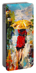 Portable Battery Charger featuring the painting Rainy Days by Alan Lakin