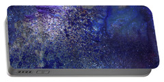 Rainy Night - Blue Contemporary Abstract Art Portable Battery Charger