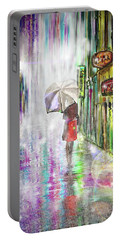 Rainy Paris Day Portable Battery Charger