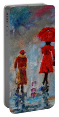 Portable Battery Charger featuring the painting Rainy Spring Day by Sher Nasser